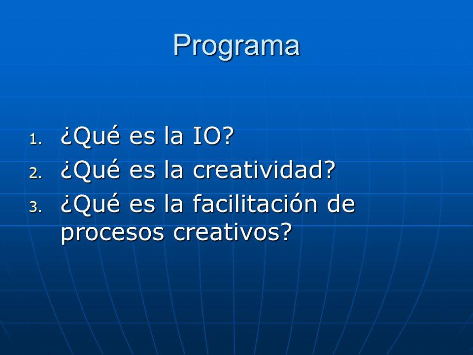 Programa ¿Qué es la IO ¿Qué es la creatividad