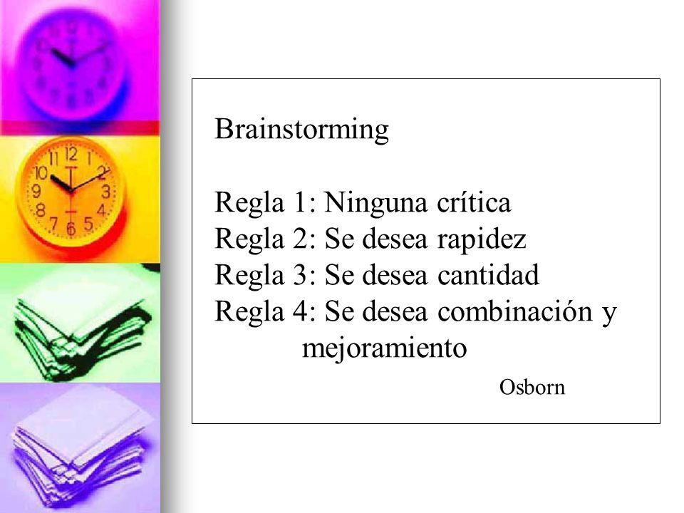Brainstorming Regla 1: Ninguna crítica. Regla 2: Se desea rapidez. Regla 3: Se desea cantidad. Regla 4: Se desea combinación y.