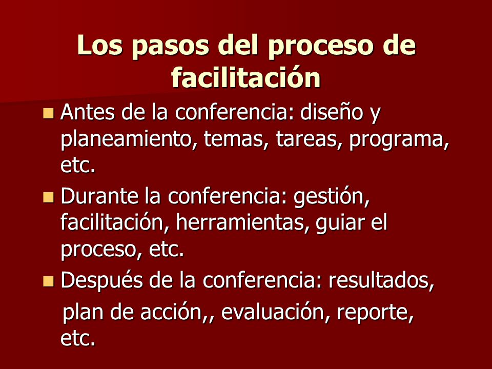 Los pasos del proceso de facilitación