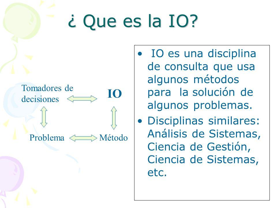 ¿ Que es la IO IO es una disciplina de consulta que usa algunos métodos para la solución de algunos problemas.