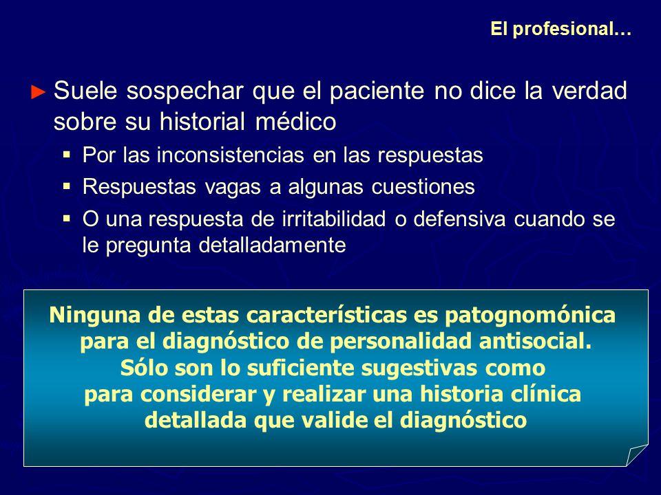 El profesional… Suele sospechar que el paciente no dice la verdad sobre su historial médico. Por las inconsistencias en las respuestas.