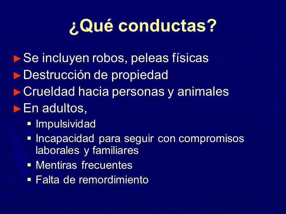 ¿Qué conductas Se incluyen robos, peleas físicas