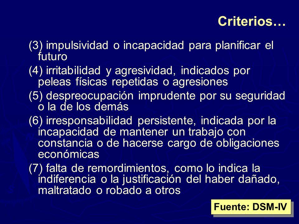 Criterios… (3) impulsividad o incapacidad para planificar el futuro