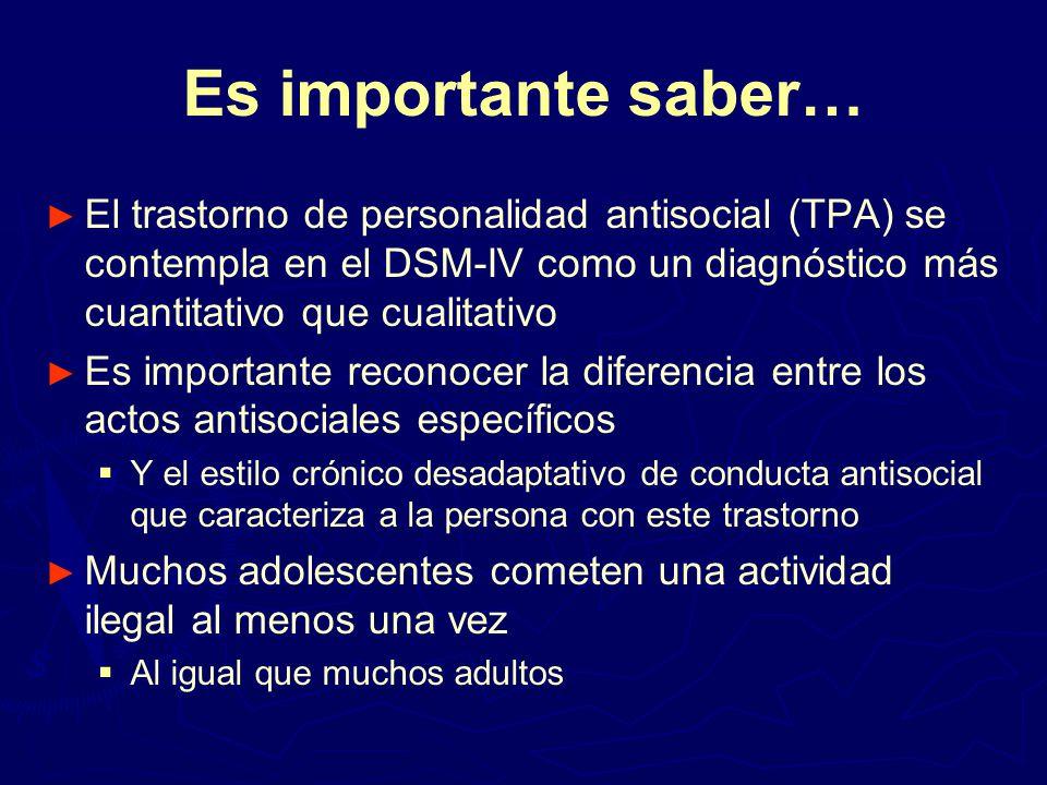 Es importante saber… El trastorno de personalidad antisocial (TPA) se contempla en el DSM-IV como un diagnóstico más cuantitativo que cualitativo.
