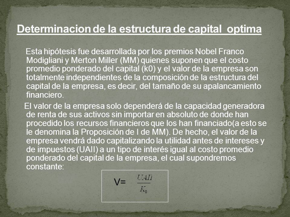Determinacion de la estructura de capital optima