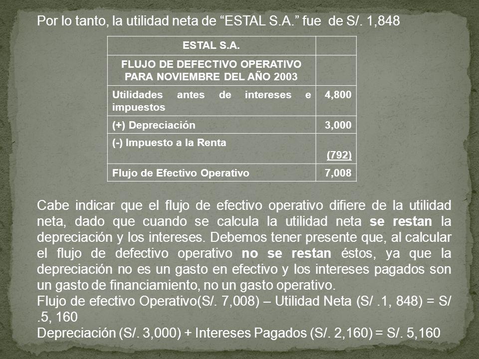 FLUJO DE DEFECTIVO OPERATIVO PARA NOVIEMBRE DEL AÑO 2003