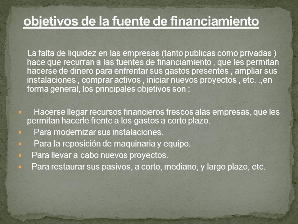 objetivos de la fuente de financiamiento