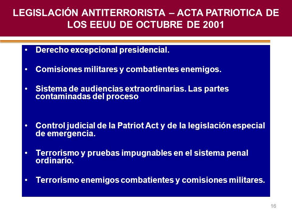LEGISLACIÓN ANTITERRORISTA – ACTA PATRIOTICA DE LOS EEUU DE OCTUBRE DE 2001