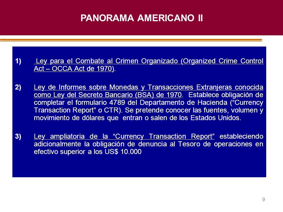 PANORAMA AMERICANO II 1) Ley para el Combate al Crimen Organizado (Organized Crime Control Act – OCCA Act de 1970).