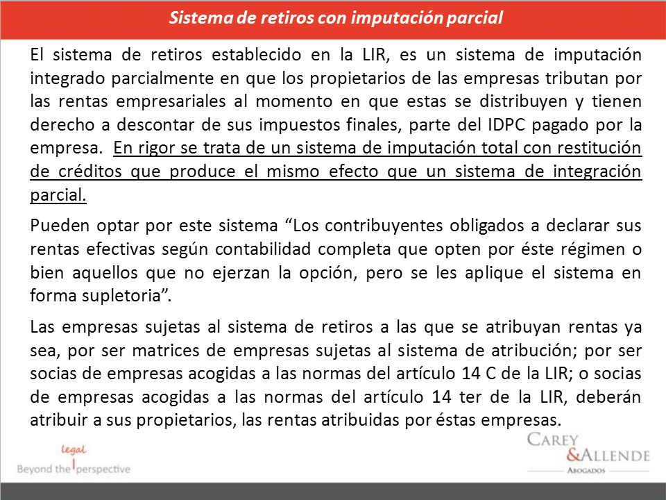 Sistema de retiros con imputación parcial