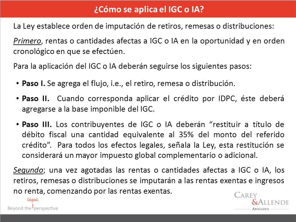 ¿Cómo se aplica el IGC o IA