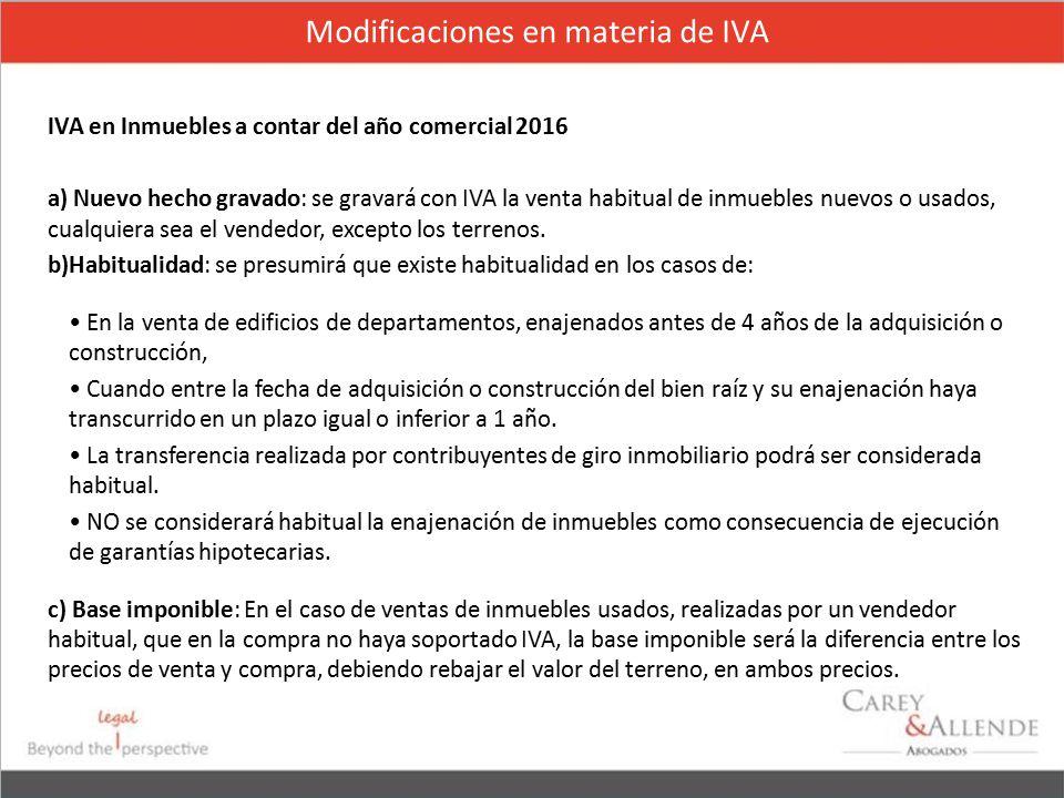 Modificaciones en materia de IVA