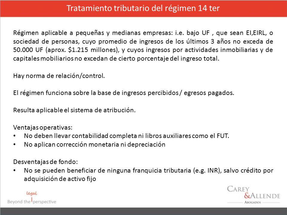 Tratamiento tributario del régimen 14 ter