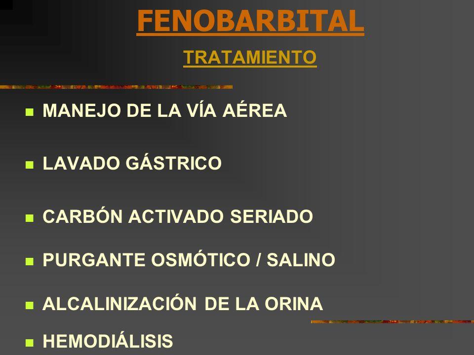 FENOBARBITAL TRATAMIENTO MANEJO DE LA VÍA AÉREA LAVADO GÁSTRICO