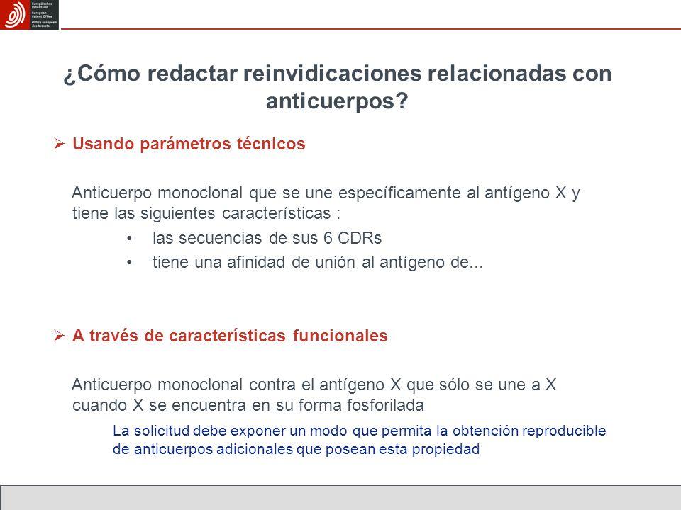 ¿Cómo redactar reinvidicaciones relacionadas con anticuerpos