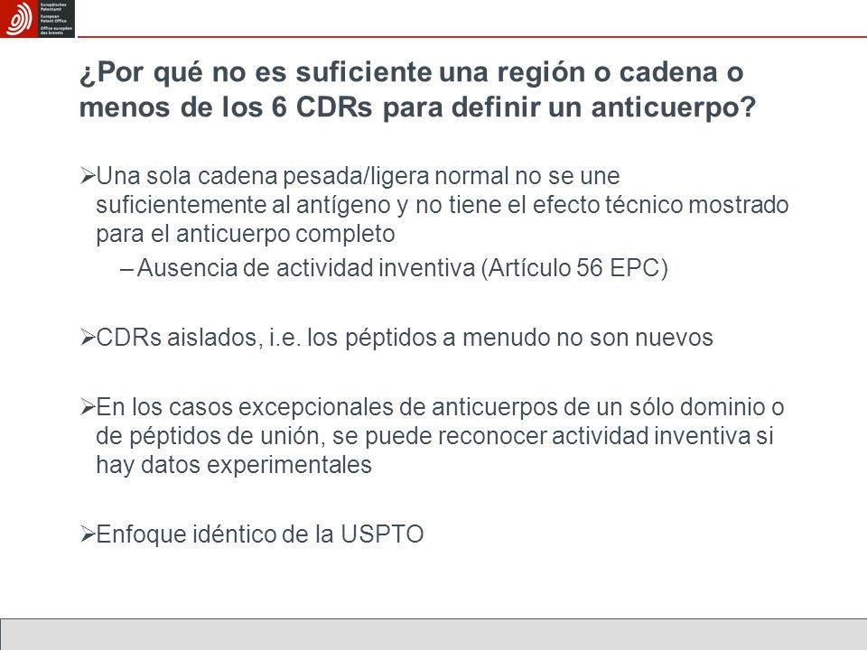 ¿Por qué no es suficiente una región o cadena o menos de los 6 CDRs para definir un anticuerpo