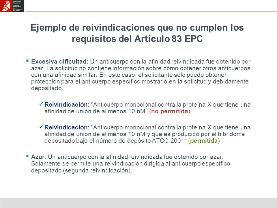 Ejemplo de reivindicaciones que no cumplen los requisitos del Artículo 83 EPC