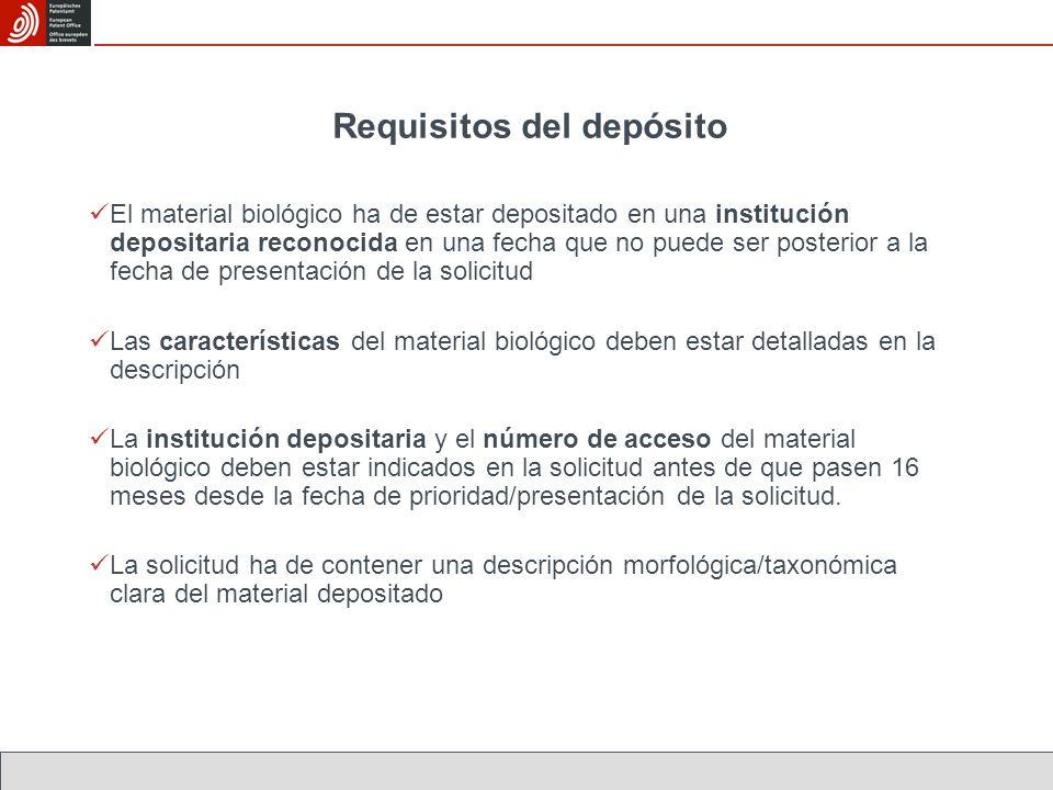 Requisitos del depósito