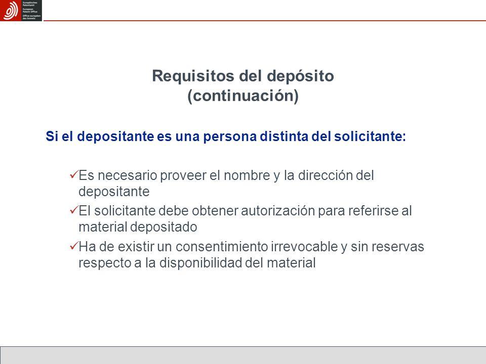 Requisitos del depósito (continuación)