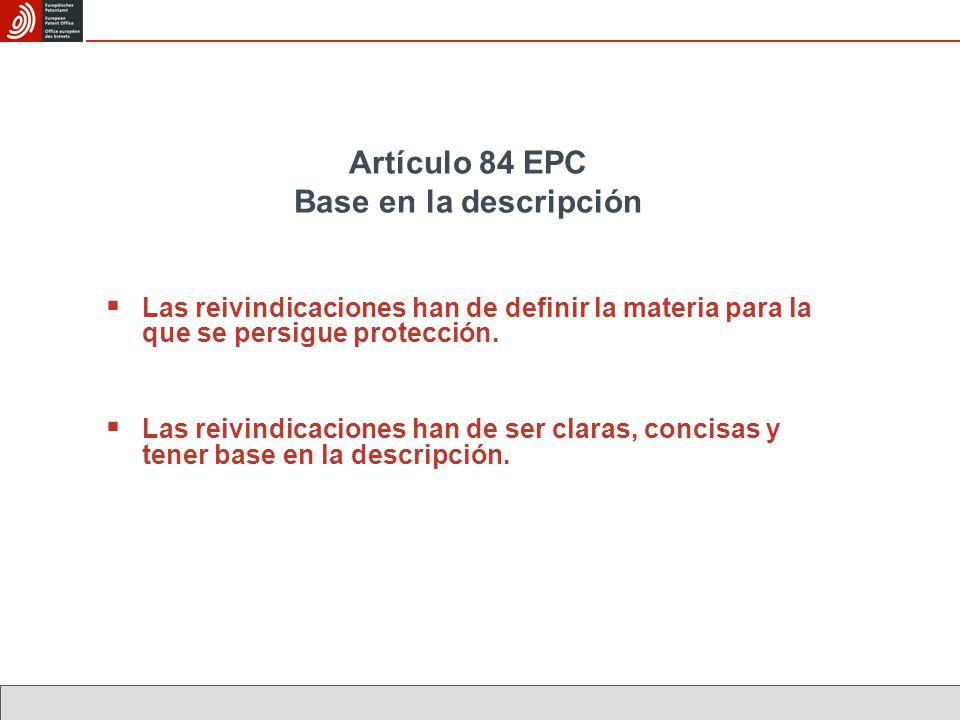 Artículo 84 EPC Base en la descripción