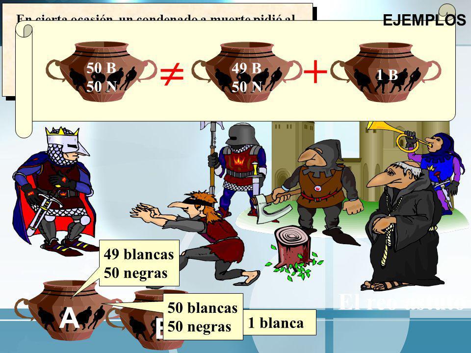  + A B El reo astuto EJEMPLOS 50 B 49 B 1 B 50 N 49 blancas 50 negras