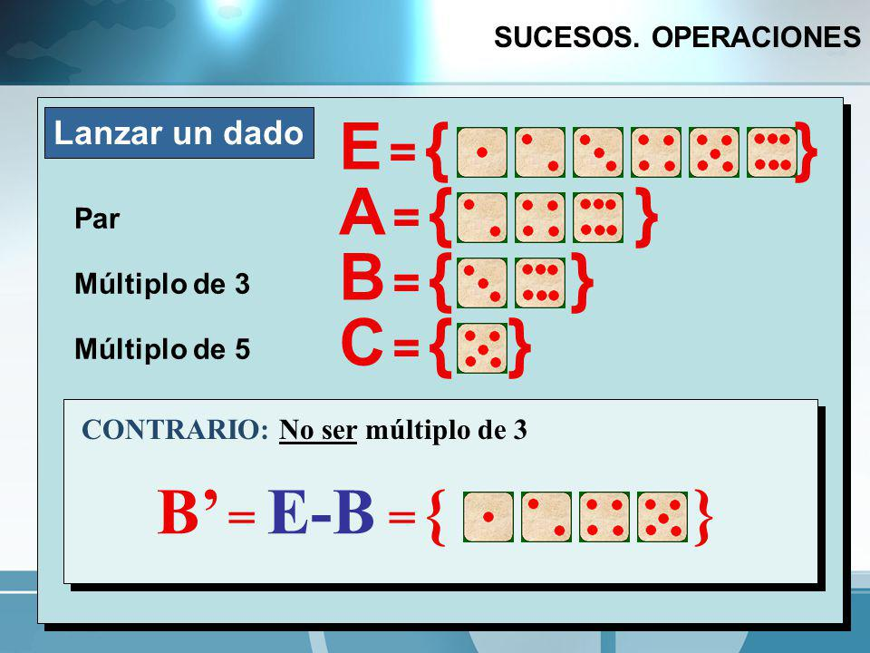 E = { } A = { } B = { } C = { } AB = { }   B' = E-B = { } AB = { }
