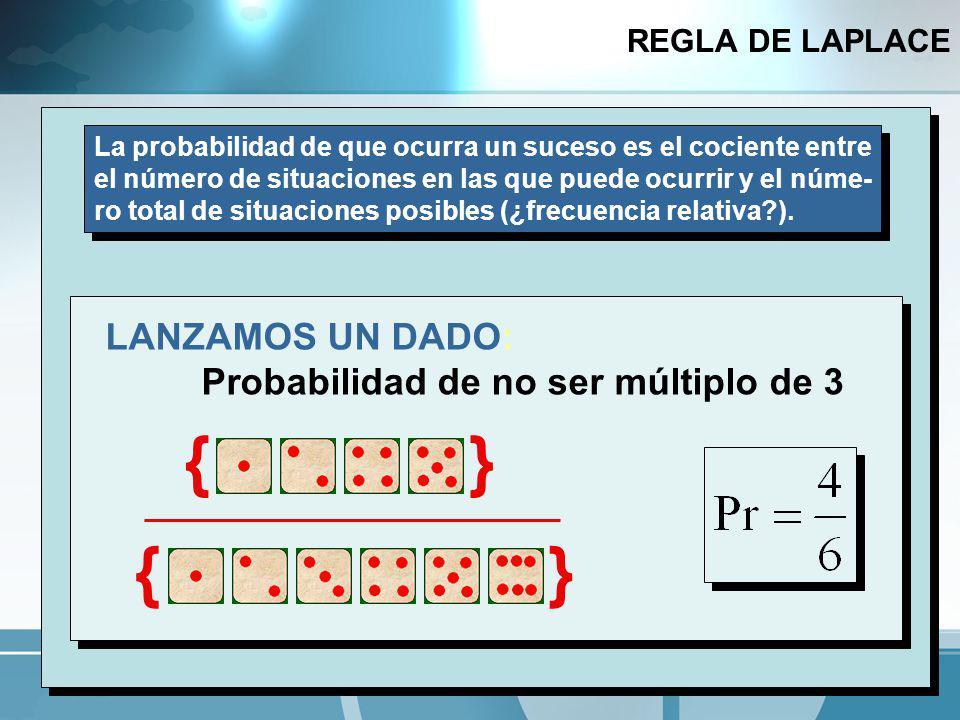 { } { } LANZAMOS UN DADO: Probabilidad de no ser múltiplo de 3