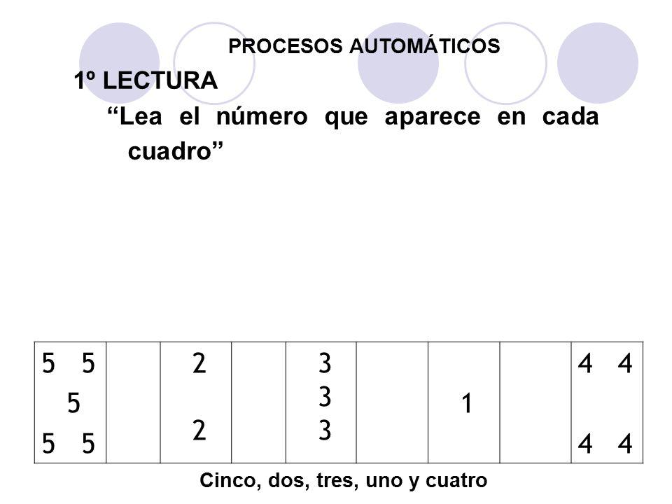 PROCESOS AUTOMÁTICOS 1º LECTURA. Lea el número que aparece en cada cuadro 1. 2. 3. 4 4. 5 5.