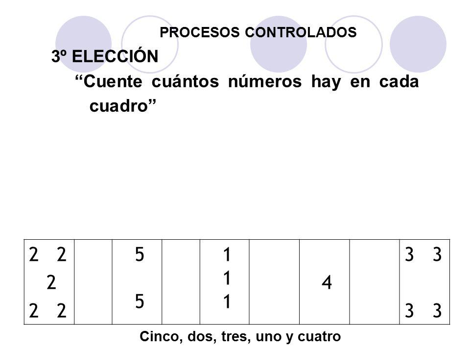 PROCESOS CONTROLADOS 3º ELECCIÓN. Cuente cuántos números hay en cada cuadro 3. 4. 2. 5 5. 1 1.