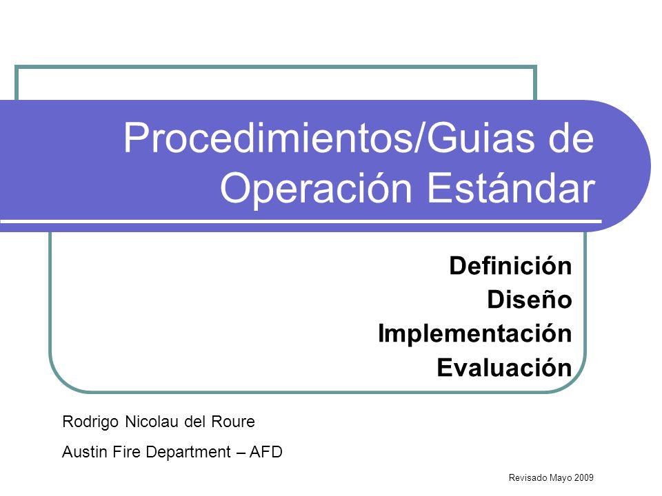 Procedimientos/Guias de Operación Estándar