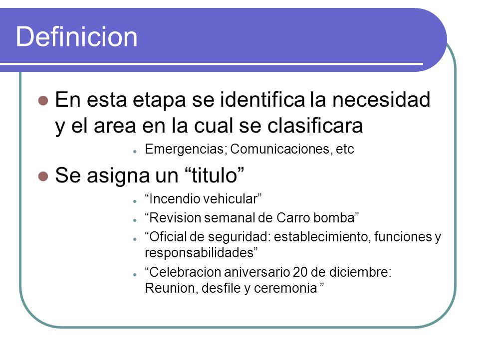 Definicion En esta etapa se identifica la necesidad y el area en la cual se clasificara. Emergencias; Comunicaciones, etc.