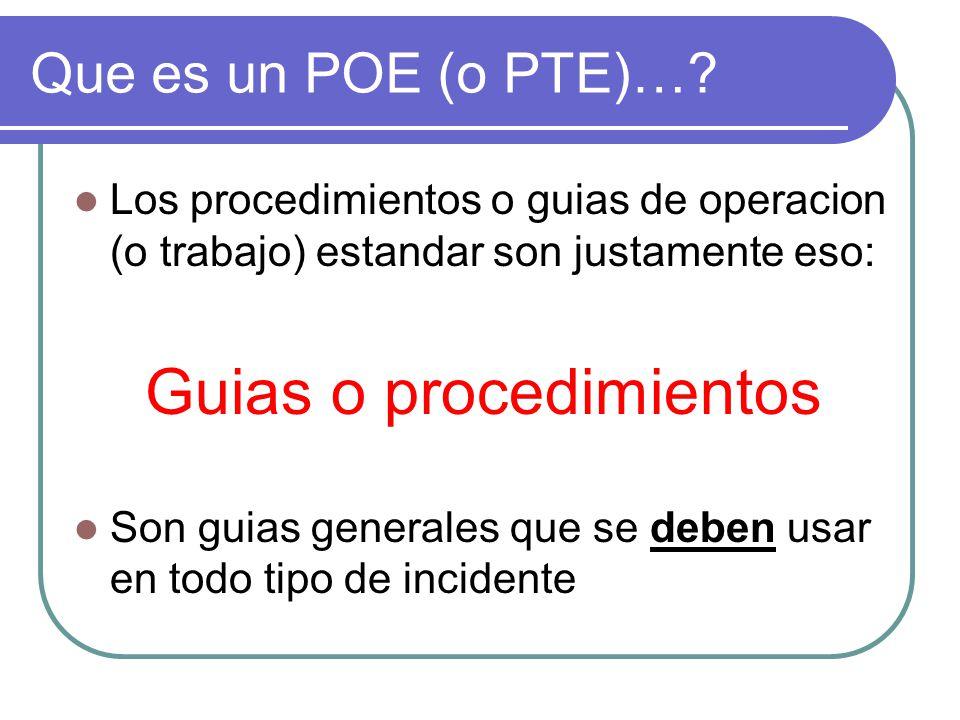 Que es un POE (o PTE)… Los procedimientos o guias de operacion (o trabajo) estandar son justamente eso: