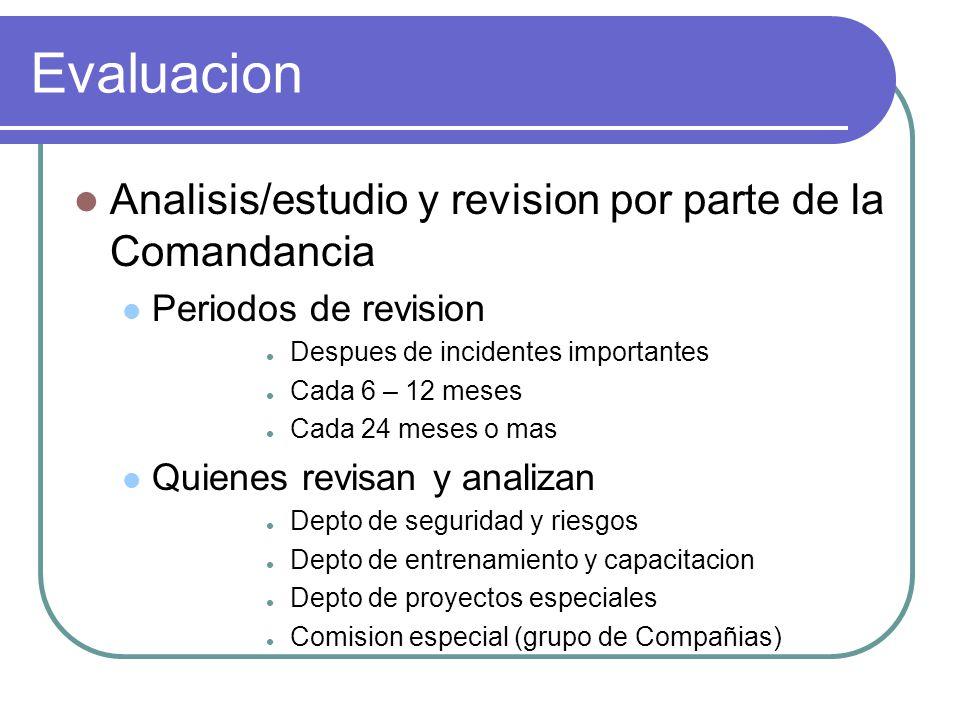 Evaluacion Analisis/estudio y revision por parte de la Comandancia