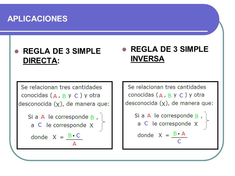 APLICACIONES REGLA DE 3 SIMPLE INVERSA REGLA DE 3 SIMPLE DIRECTA: