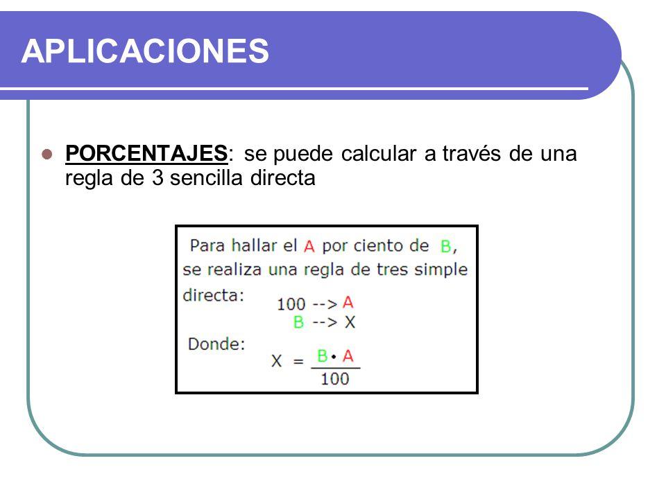 APLICACIONES PORCENTAJES: se puede calcular a través de una regla de 3 sencilla directa