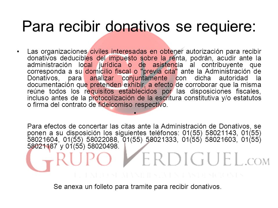 Para recibir donativos se requiere: