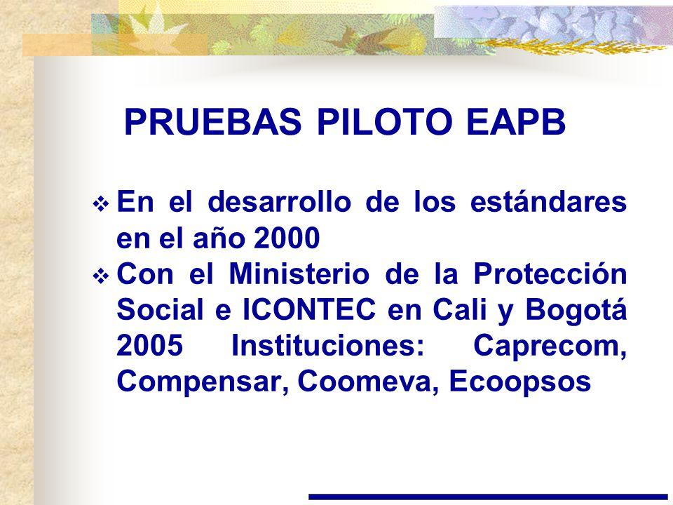 PRUEBAS PILOTO EAPB En el desarrollo de los estándares en el año 2000
