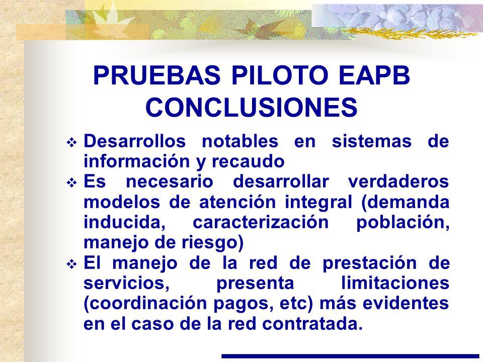 PRUEBAS PILOTO EAPB CONCLUSIONES