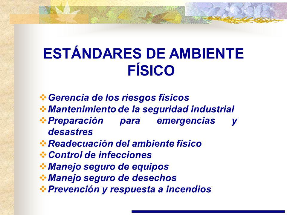 ESTÁNDARES DE AMBIENTE FÍSICO