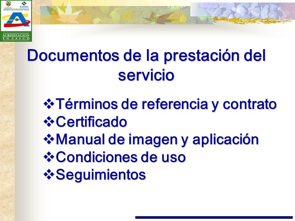 Documentos de la prestación del servicio