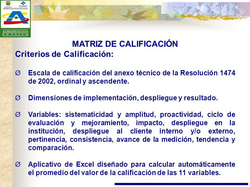 MATRIZ DE CALIFICACIÓN