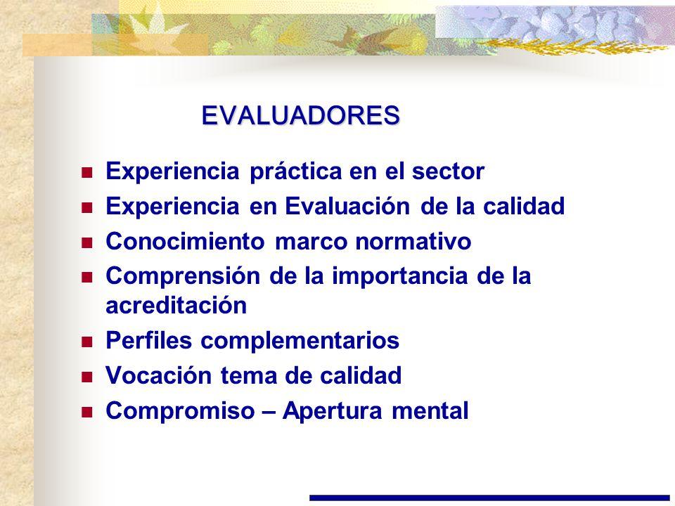 EVALUADORES Experiencia práctica en el sector