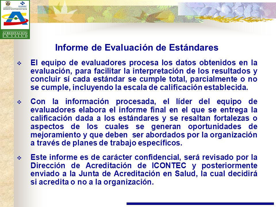 Informe de Evaluación de Estándares