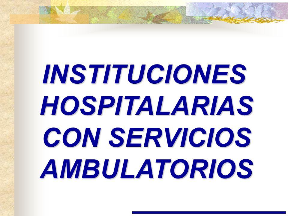 INSTITUCIONES HOSPITALARIAS CON SERVICIOS AMBULATORIOS