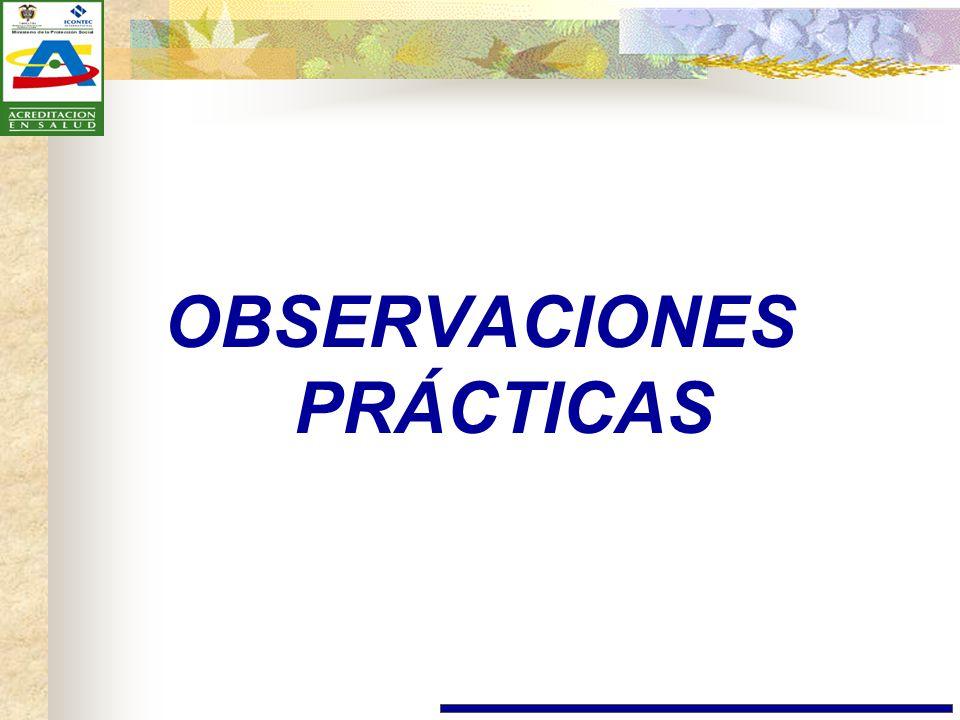 OBSERVACIONES PRÁCTICAS