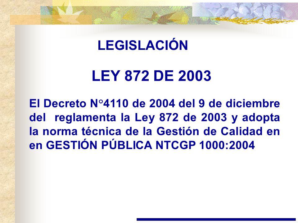 LEGISLACIÓN LEY 872 DE 2003.