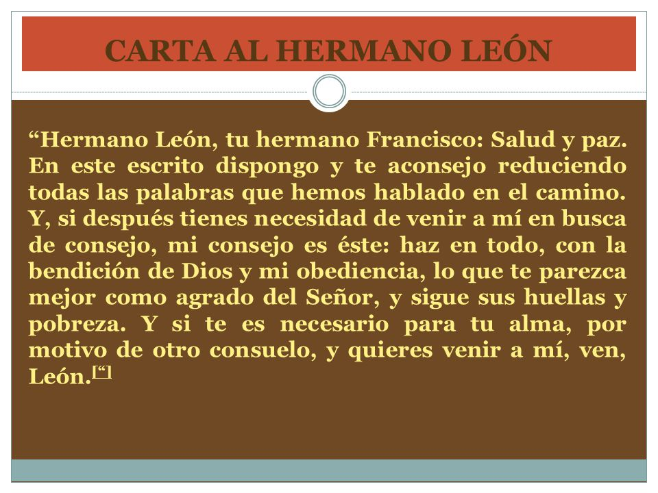 CARTA AL HERMANO LEÓN