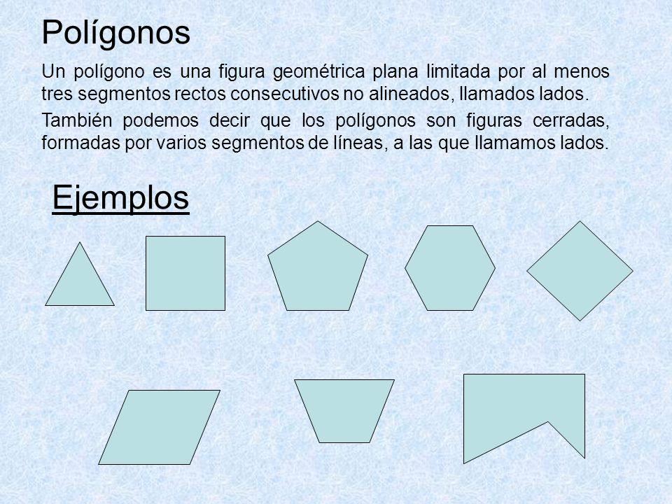Polígonos Un polígono es una figura geométrica plana limitada por al menos tres segmentos rectos consecutivos no alineados, llamados lados.