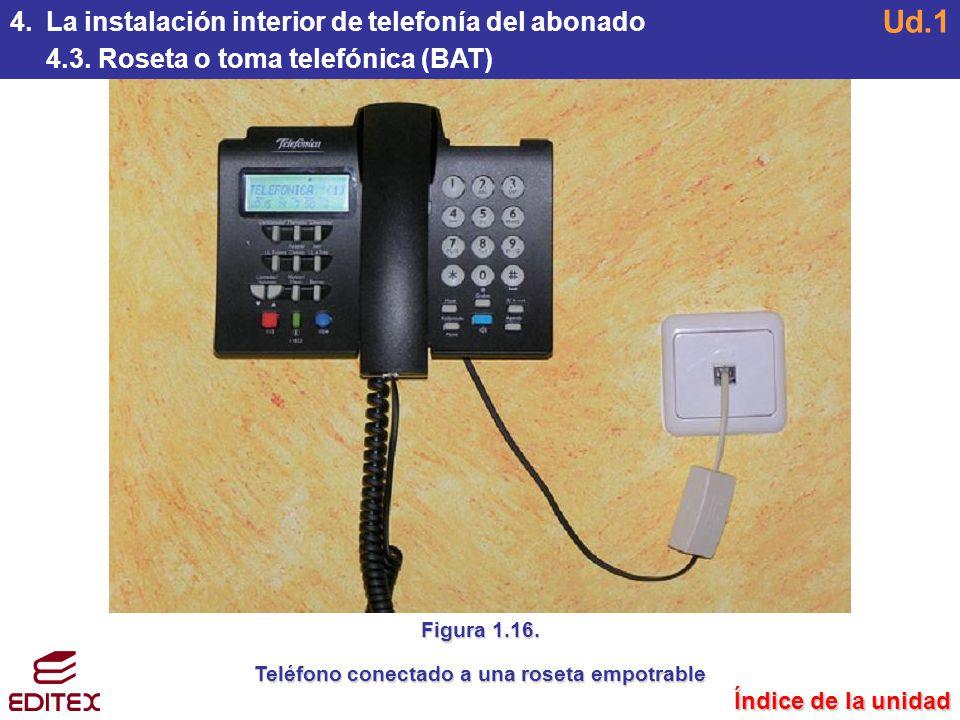 Teléfono conectado a una roseta empotrable