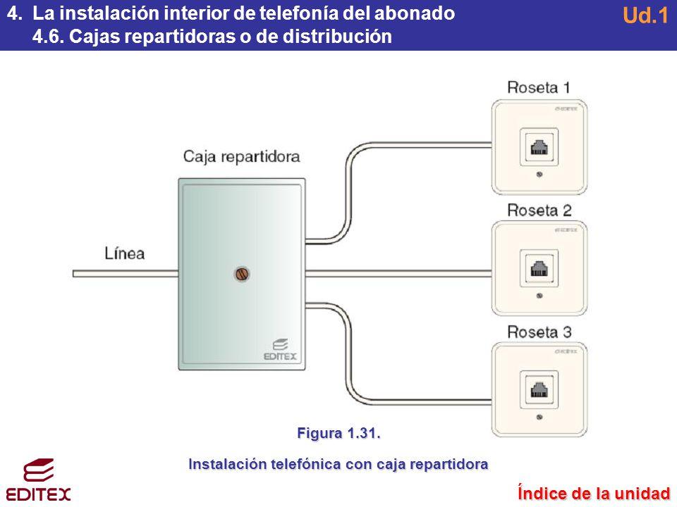 Instalación telefónica con caja repartidora
